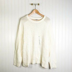 Old Navy Womens Pullover Sweater Cream Long Sleeve